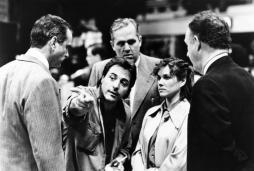 HOOSIERS, from left: Michael Sassone, director David Anspaugh, Robert Swan, Barbara Hershey, Gene Hackman, on set, 1986. ©Orion