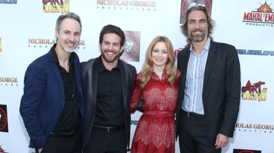 """BEVERLY HILLS, CALIFORNIA - JANUARY 22: (L-R) Danny Tesla, Zach Chyz, Jessica Morris and Lukas Hassel attend the """"Art of the Dead"""" exclusive cast and crew screening at Ahrya Fine Arts by Laemmle on January 22, 2019 in Beverly Hills, California. (Photo by Randy Shropshire/Getty Images for Mahal Empire)"""